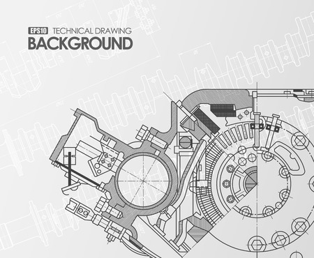 Template White Background With Technical Drawing Engine Connecting ...
