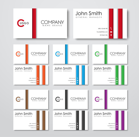 White business card templates in the style of the material design with colorful elements Vektorové ilustrace