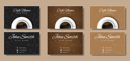 black coffee: Design Business cards with hand drawings. Template with a cup of black coffee, top view. Vector illustration. Set