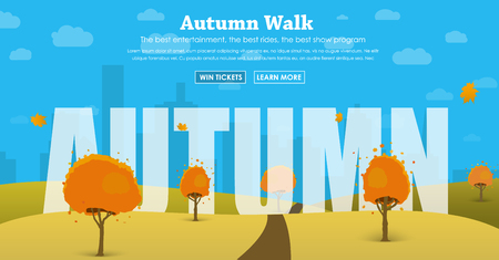 Template header of the site with the autumn scenery and the text between the trees and hills. Design with headings and buttons. Vector illustration