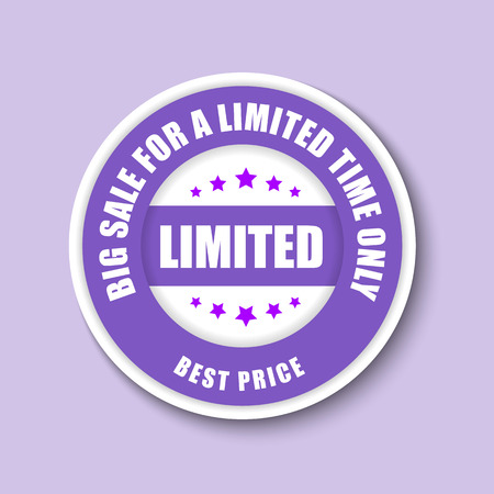 Design white and purple stamp (sticker) for the big sale for a limited time. Vector illustration