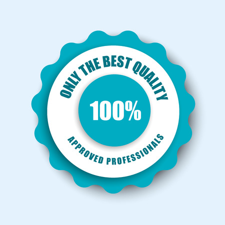 whiteblue: Template white-blue stamp (sticker) with 100% guarantee. Vector illustration