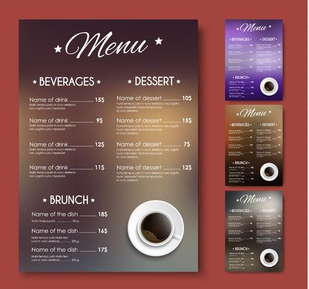 Diseñar un menú para una cafetería o restaurante. Plantillas con fondo borroso y una taza de café negro. Ilustración del vector. Conjunto Foto de archivo - 65887305