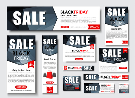 Set Web banner standard size for the site. Templates for sale, Black Friday. Design a polygon on an abstract background, ribbons. Vector illustration
