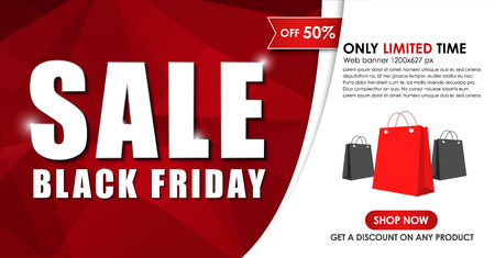 Design Web banners for sales on Black Friday. A template for the website and social networks, with abstract polygonal elements, ribbons and bags. Vector illustration Illustration