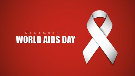 salud sexual: fondo rojo con una cinta blanca para el Día del SIDA. ilustración vectorial