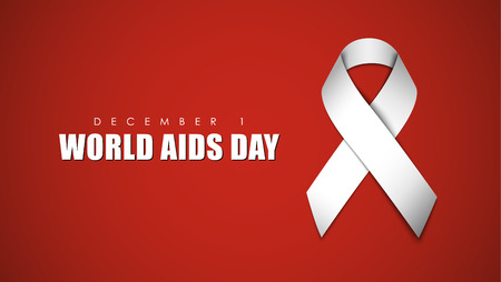 Red background with white ribbon to AIDS Day. Vector illustration