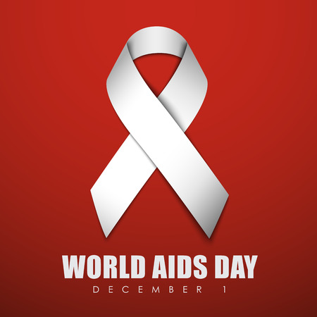 aids virus: Square red banner with a white ribbon for World AIDS Day. Vector illustration