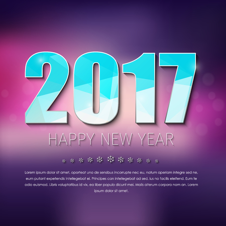 text year: banner Template Happy New Year. Design polygonal 2017 text on blurred background. Illustration