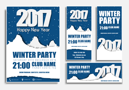 snowcapped: Set flyers and banners of various sizes with snow-capped mountains for a night party Happy New Year. Vector illustration Illustration