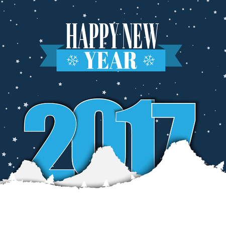 of them: Design banner Happy New Year with a ribbon. Template winter snowy mountains, and the text between them in 2017 against the backdrop of night sky. Vector illustration