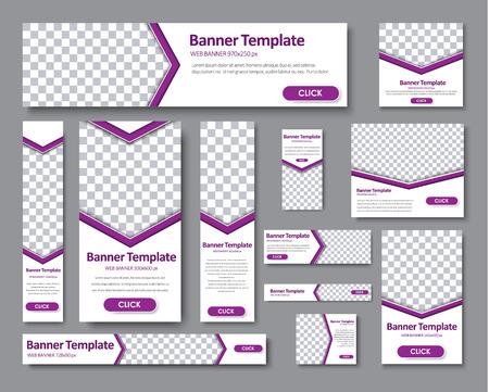 Design banner Web di diverse dimensioni standard. Banner di modelli con una freccia per la foto e pulsanti viola. Illustrazione vettoriale Impostato Vettoriali