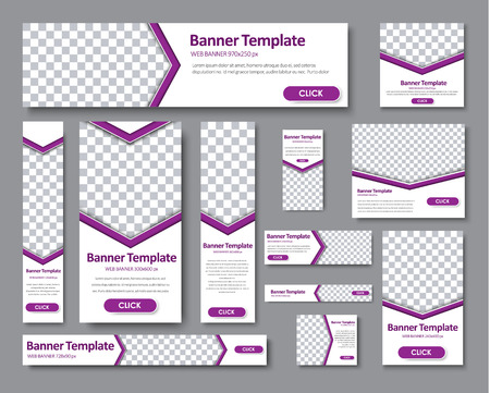Design Web banners of different standard sizes. Templates banner with an arrow for the photo, and purple buttons. Vector illustration. Set Vector Illustration