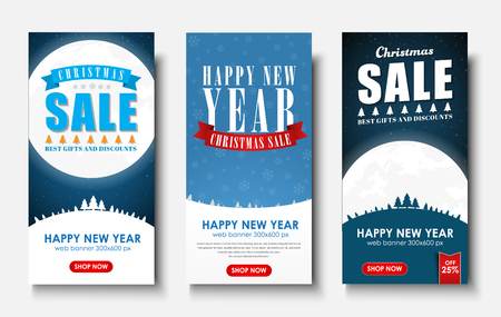 snowcapped: web set of vertical banners for Christmas sales. Templates with starry sky, moon, snow-capped mountains. Vector illustration Illustration