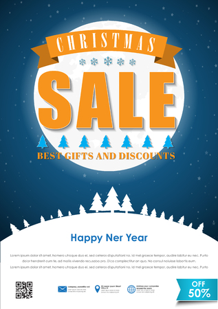 snowcapped: Poster design for the Christmas sales. Template flyer with snow-capped mountains, the trees and the moon, with a ribbon. Vector illustration Illustration