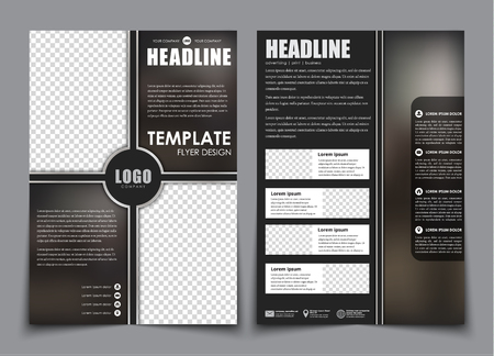 Design Flyers Black With Blue Elements For Printing Brochure