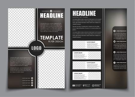 black block: volantes plantilla división bloque negro. Diseño 2 página folleto con espacio para una foto, el fondo borroso y los iconos. ilustración vectorial Vectores