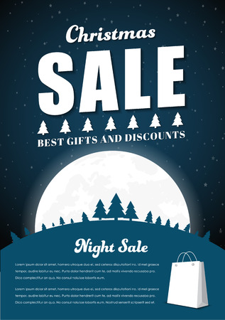 snowcapped: Template Poster for Christmas sales. Design a flyer with snow-capped mountains, the trees and the moon at night. Vector illustration