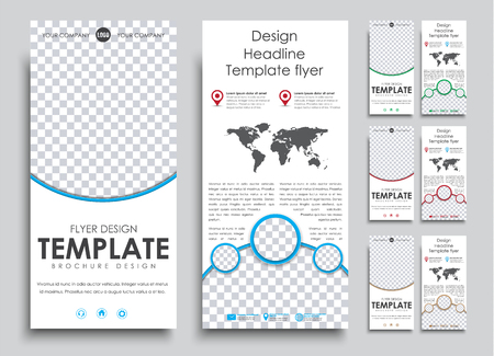 Set flyer size 210h99 mm in 4 color options. Templates 2 pages with space for photo and text in circles, 4 color options. Vector illustration.