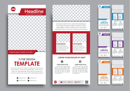 Design White Narrow Flyers Templates 2 Pages In 4 Color Versions