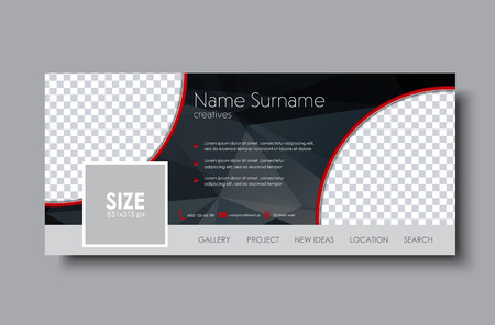 horizontal banner design for the social network. Template black with space for images and polygonal elements. Vector illustration. 矢量图像