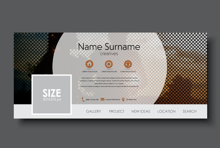 Template banner for social network. Design with a mosaic on the background of a pair of running at sunset. Vector illustration.