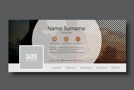 Bannière Modèle de réseau social. Conception d'une mosaïque sur le fond d'une paire de courir au coucher du soleil. Vector illustration. Banque d'images - 68532577