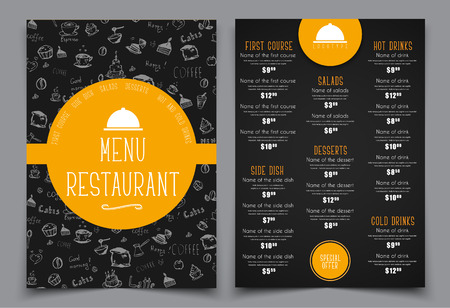 design a menu for a cafe or restaurant templates 2 a4 pages with drawings by