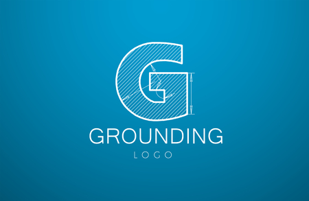 grounding: logo template letter G  in the style of a technical drawing. sign design and the text grounding with dimension lines. Vector illustration