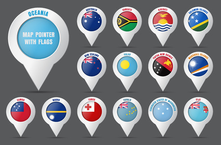 Set the pointer to the map with the flag of the countries of Oceania and their names. Vector illustration Illustration