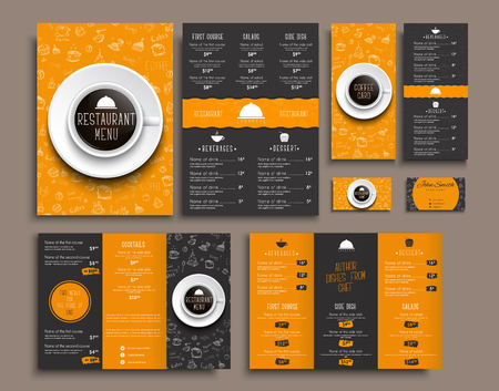 Templates business cards, A4 menu, folding brochures and flyers narrow for a restaurant or cafe. The design of black and orange colors, with drawings by hand and a cup of coffee the top view. Set. Vector illustration.