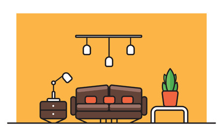 Interior pattern for a banner in a flat style with a brown sofa, lamps, bedside tables and potted flowers in pots. Vector illustration Illustration