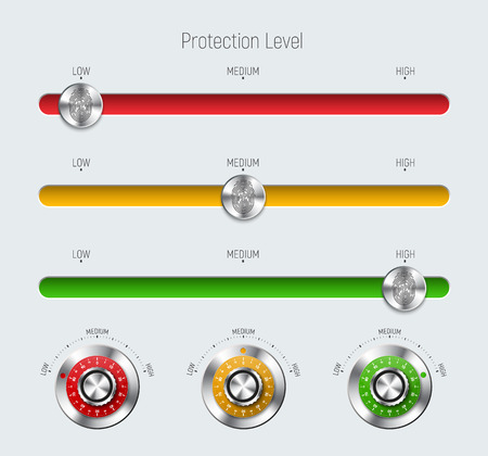 Design sliders with for a web site or application. Templates of red, yellow and green with a level of protection, a fingerprint and a mechanical metal lock. White interface. Vector illustration