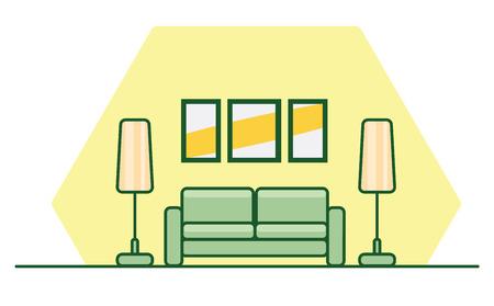Flache Innenart mit einem grünen Sofa, Lampen und Malereien auf der gelben Wand. Die Schablone für Fahne, Heide, Broschüren oder Flieger, Vektorillustration