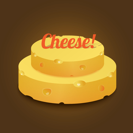 Head yellow hard cheese in the form of a cake with text on top of a holiday candle. Vector illustration