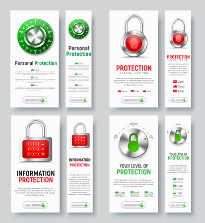 classified: Design of white vertical banners to protect. Vertical templates with padlock, fingerprint, mechanical combination lock and level control of the cloud, mail, accounts.