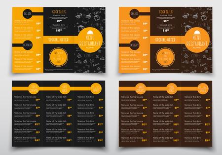 Projekt potrójnie składanych menu do kawiarni i restauracji. Szablony broszur są czarno-brązowe z pomarańczowymi elementami, rysunkami ręcznie, listą potraw i napojów oraz ich cenami. Ilustracji wektorowych Ilustracje wektorowe