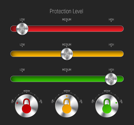 set of sliders and round buttons for different levels of protection. Templates for the interface or web site, applications with a fingerprint and padlock. Vector illustration Illustration