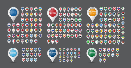 Set of pointers for a map with flags of all countries and continents of the world and their name. Vector illustration Vector Illustration
