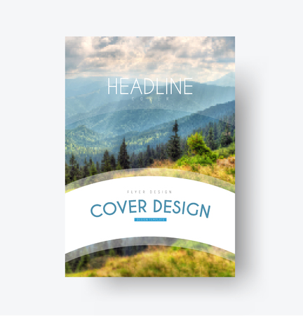 mounting: design of the cover in a minimalist style. A flyer template with a white arc for the title, and a photo of the mountains on the background. Illustration