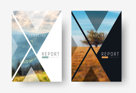 Cover template for a report in a minimalistic style with triangular design elements for a photo. A set of modern flyers for business or trips with photos of mountains and landscapes.