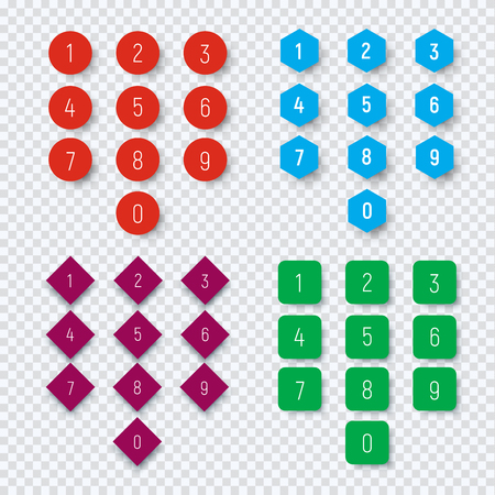 Numbers from 0 to 9 on a round, square, hexagonal and rhombic color button. Template for web design on a transparent background with a shadow from the figures. Vector illustration Vectores