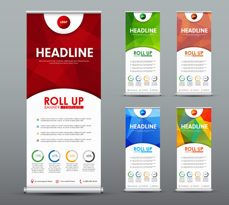 Design roll up banner for business and advertising with a red, green, blue abstract polygonal pattern. Template of a vertical brochure with round elements. Vector illustration