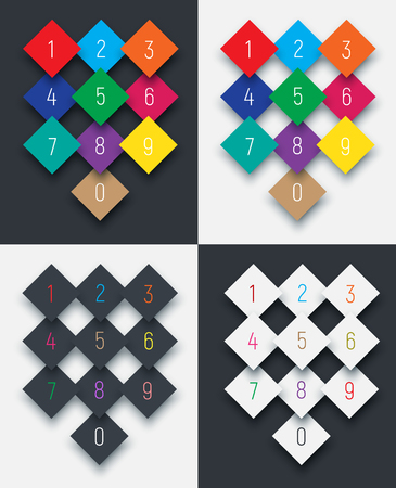 six point: Set of digits from 0 to 9 on a rhombus. Template black, white and colored buttons with shadow.