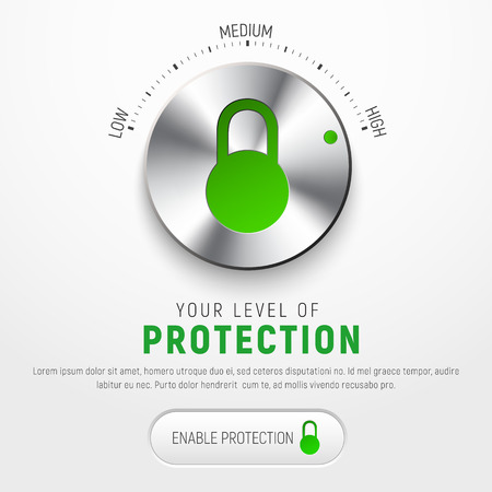 information medium: Design a white banner to protect information with a round button to select the level of protection and the icon of the padlock.