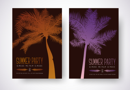 Design a flyer for a summer party. Poster template with orange and purple palm and text. Vector illustration