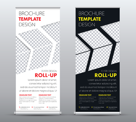 Design a universal business roll up banner with a place for a photo in the form of arrows. Template of a black and white brochure with a red and yellow heading. Vector illustration