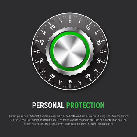 Template of black square banner with mechanical combination lock. Design for a web site, protection of personal information, maps, clouds, e-mail. Vector Illustration