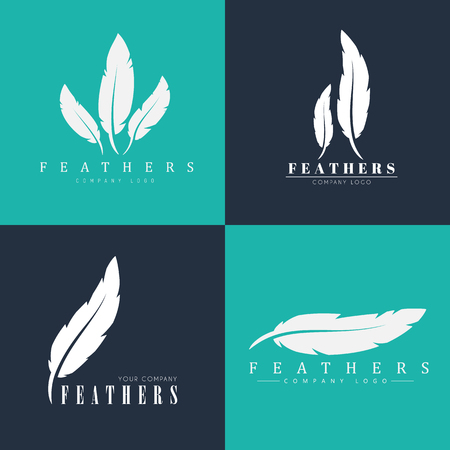 publishers: Design of logos with feathers. Templates for writers, book publishers and businesses. Vector illustration. Set