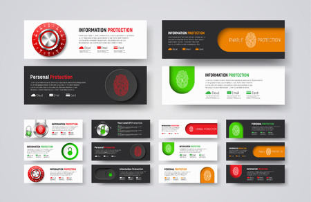 fingerprint card: set of horizontal web banners to protect information and data. Templates of white and black color with padlock, fingerprint, buttons and mechanical combination lock. Illustration